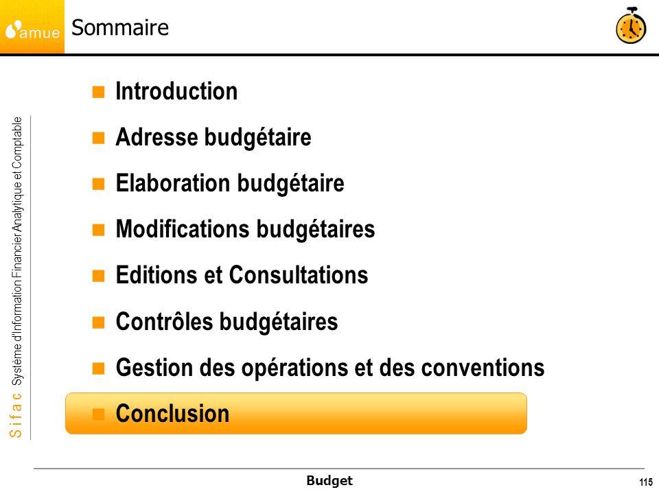 Elaboration budgétaire Modifications budgétaires
