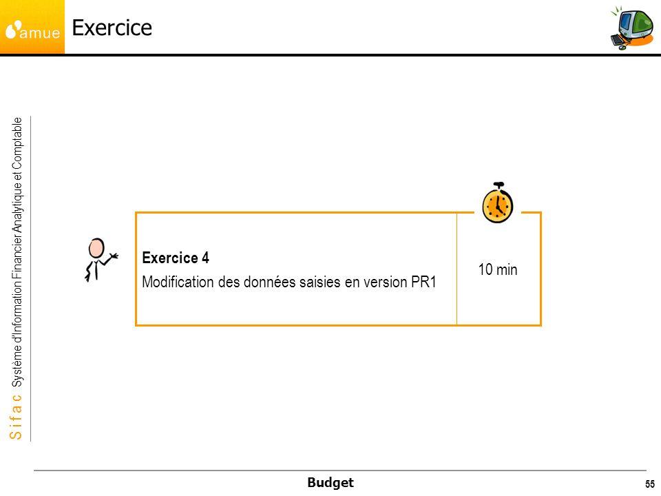 Exercice 10 min Exercice 4 Modification des données saisies en version PR1
