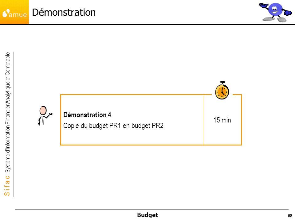 Démonstration 15 min Démonstration 4 Copie du budget PR1 en budget PR2