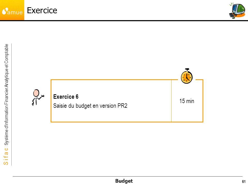 Exercice 15 min Exercice 6 Saisie du budget en version PR2