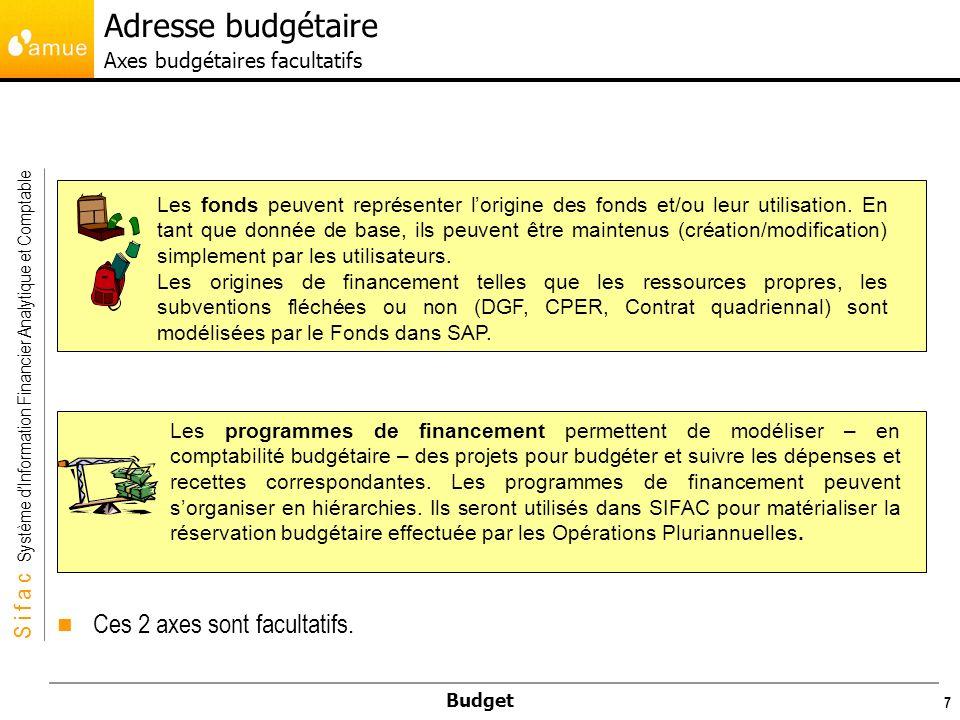 Adresse budgétaire Axes budgétaires facultatifs