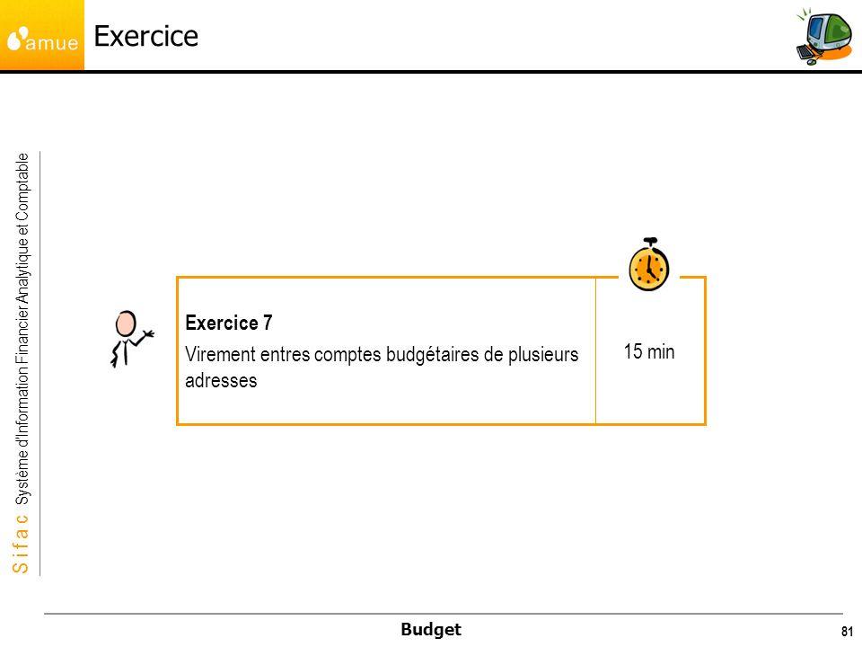 Exercice 15 min Exercice 7 Virement entres comptes budgétaires de plusieurs adresses