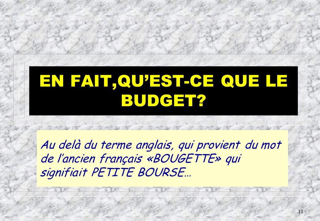 EN FAIT,QU'EST-CE QUE LE BUDGET