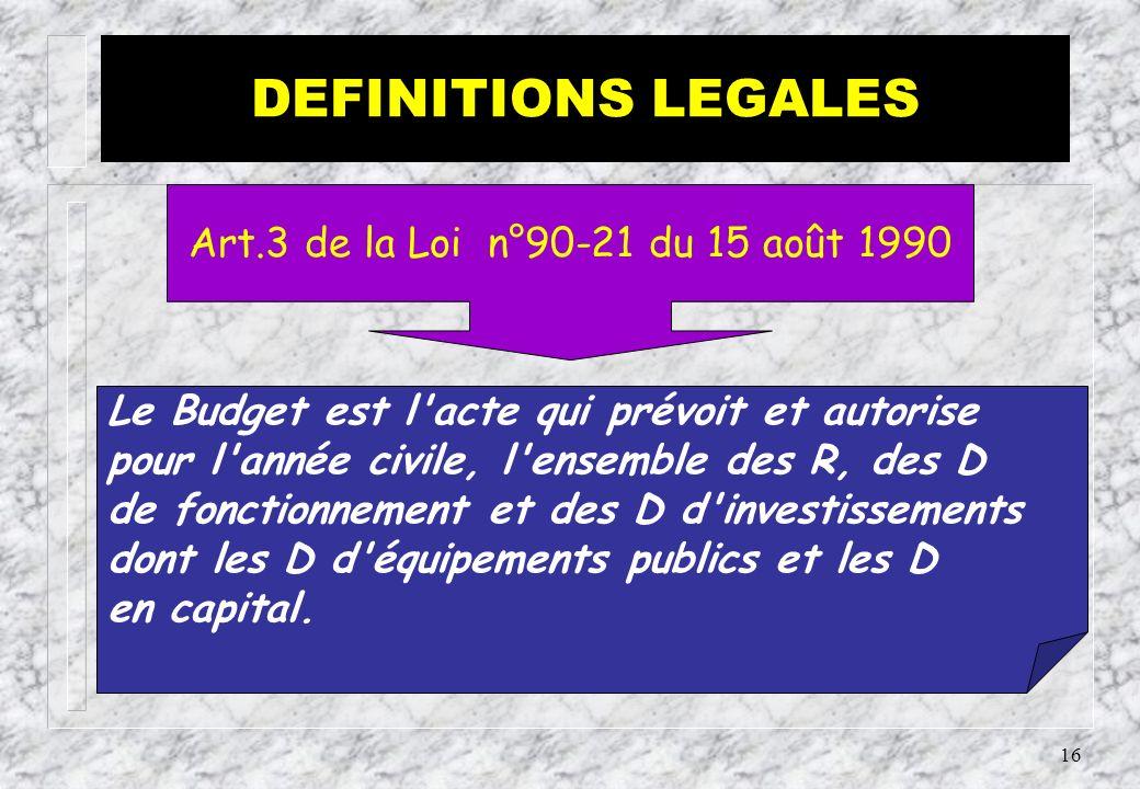 DEFINITIONS LEGALES Art.3 de la Loi n°90-21 du 15 août 1990