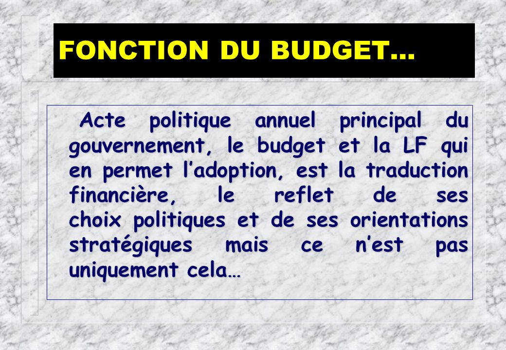 FONCTION DU BUDGET…