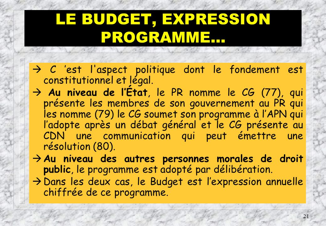 LE BUDGET, EXPRESSION PROGRAMME…