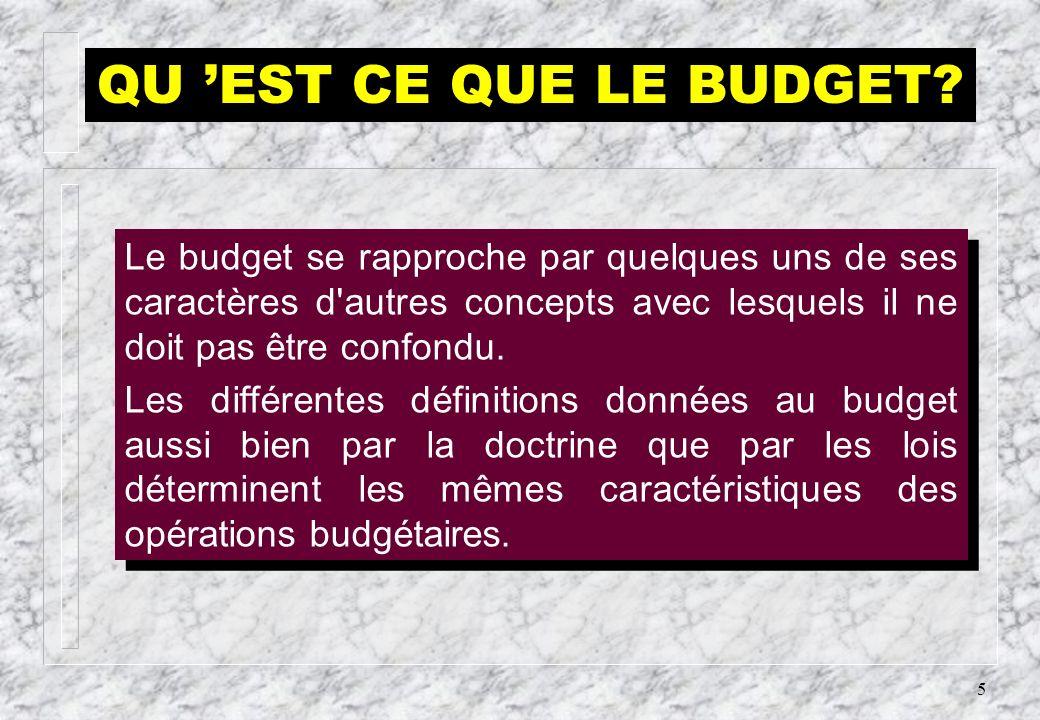 QU 'EST CE QUE LE BUDGET Le budget se rapproche par quelques uns de ses caractères d autres concepts avec lesquels il ne doit pas être confondu.
