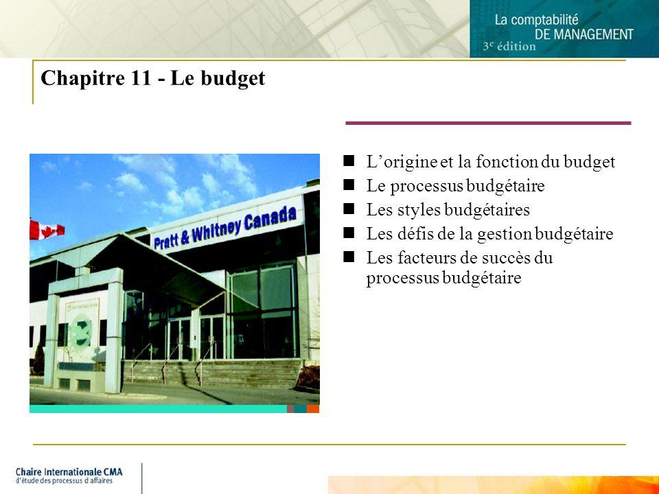 Chapitre 11 - Le budget L'origine et la fonction du budget