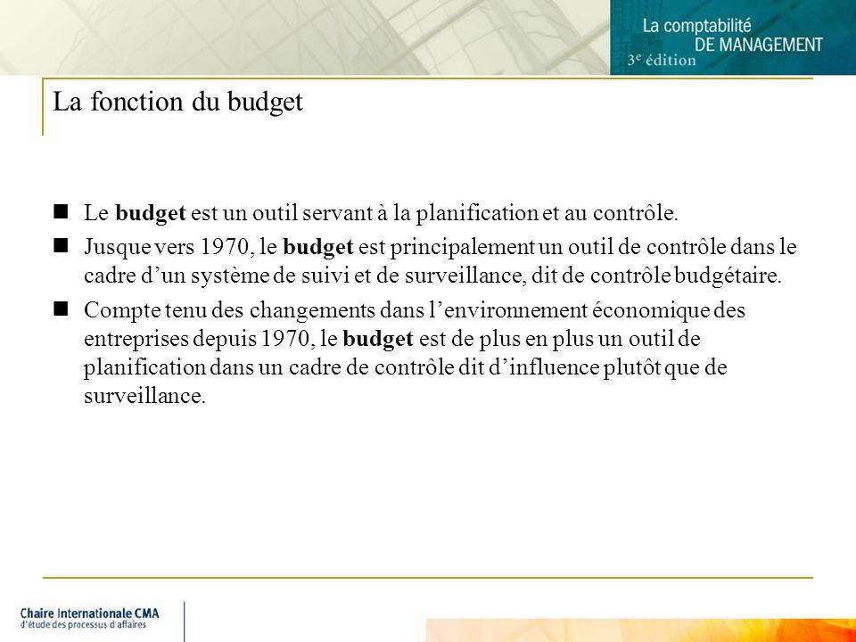La fonction du budget Le budget est un outil servant à la planification et au contrôle.