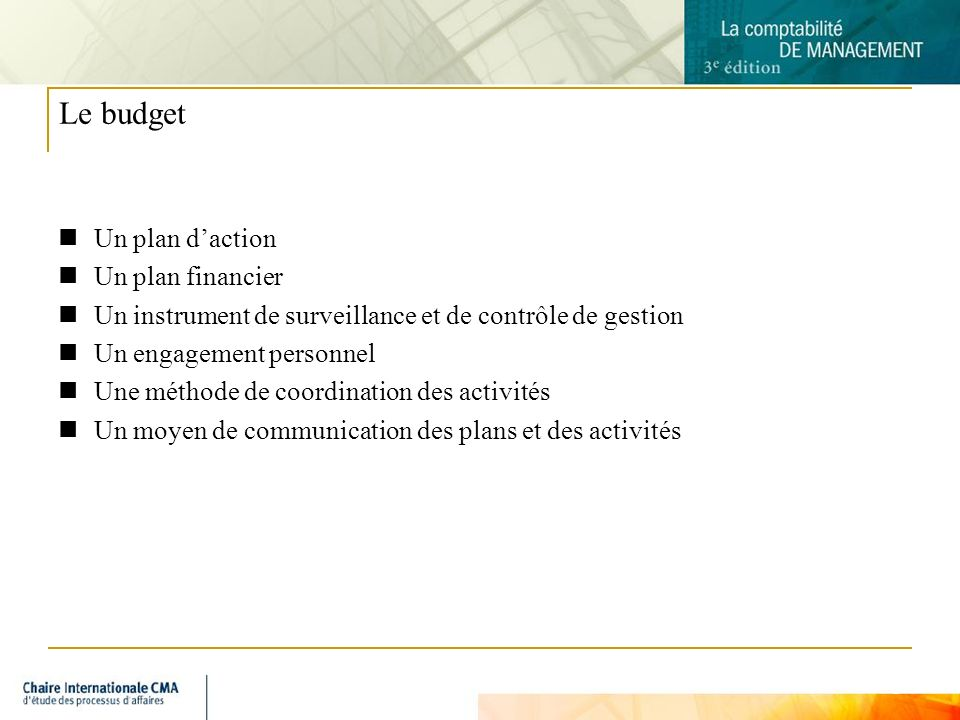 Le budget Un plan d'action Un plan financier