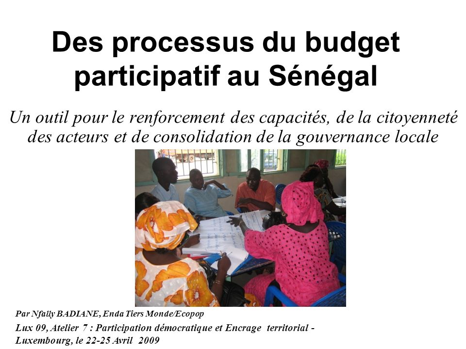 Des processus du budget participatif au Sénégal