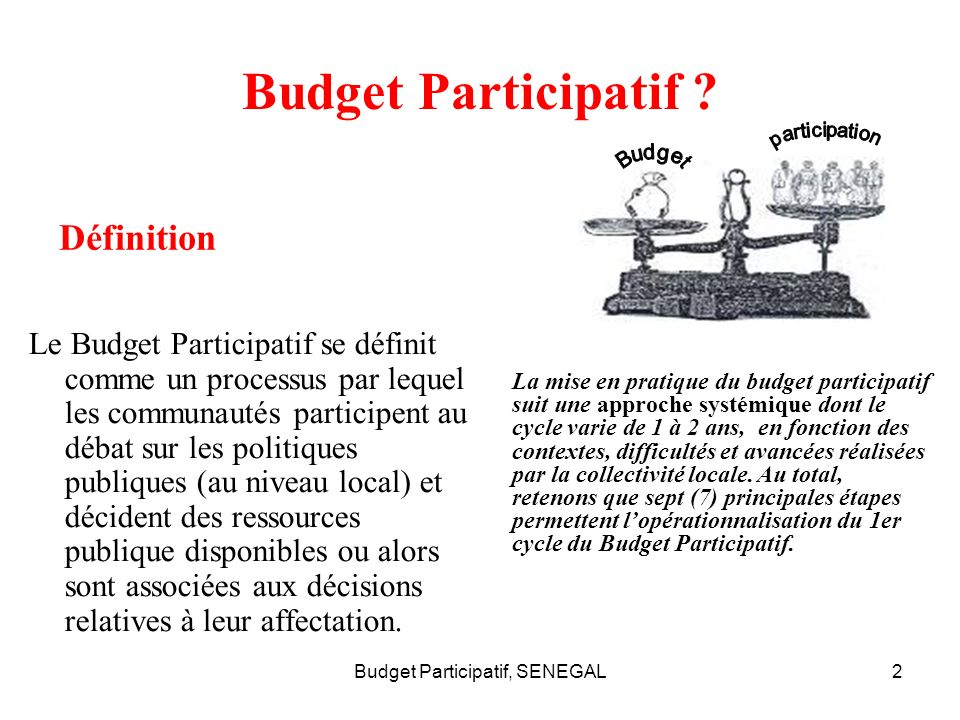 Budget Participatif, SENEGAL