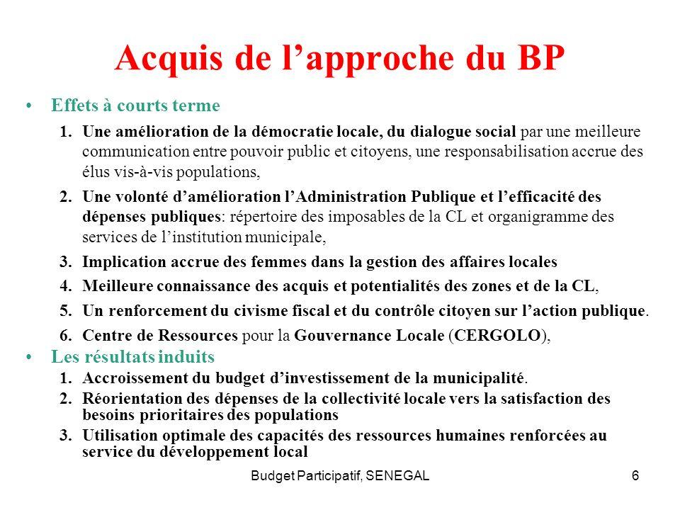 Acquis de l'approche du BP