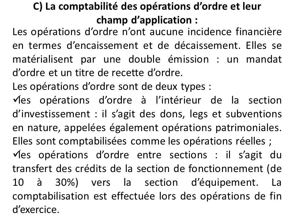 C) La comptabilité des opérations d'ordre et leur champ d'application :