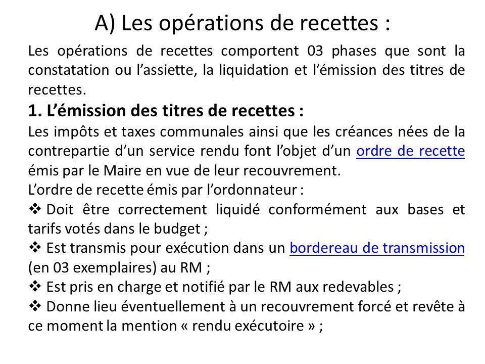 A) Les opérations de recettes :