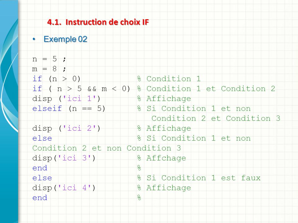 4.1. Instruction de choix IF