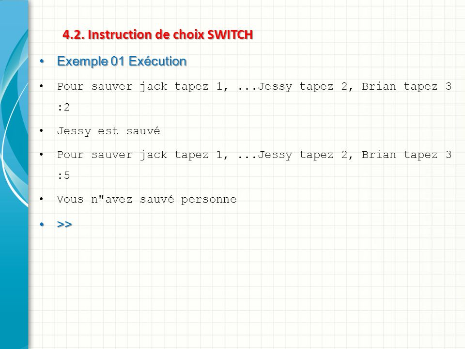 4.2. Instruction de choix SWITCH