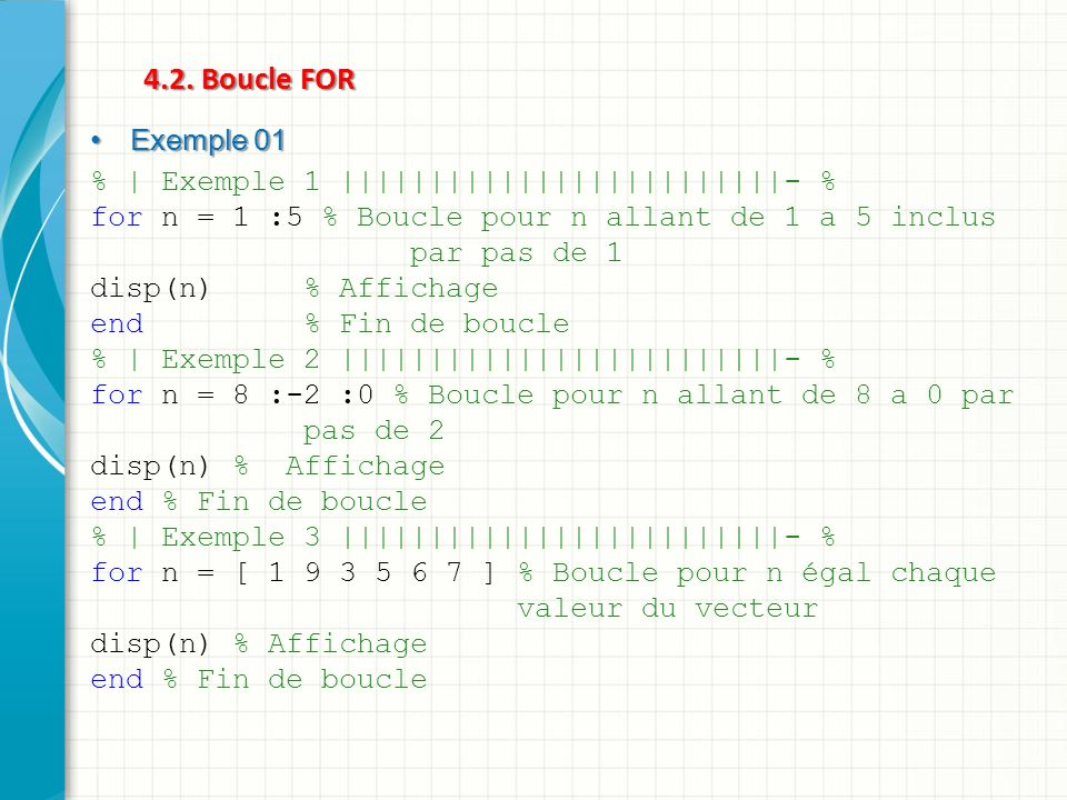 4.2. Boucle FOR Exemple 01 % | Exemple 1 |||||||||||||||||||||||||- %