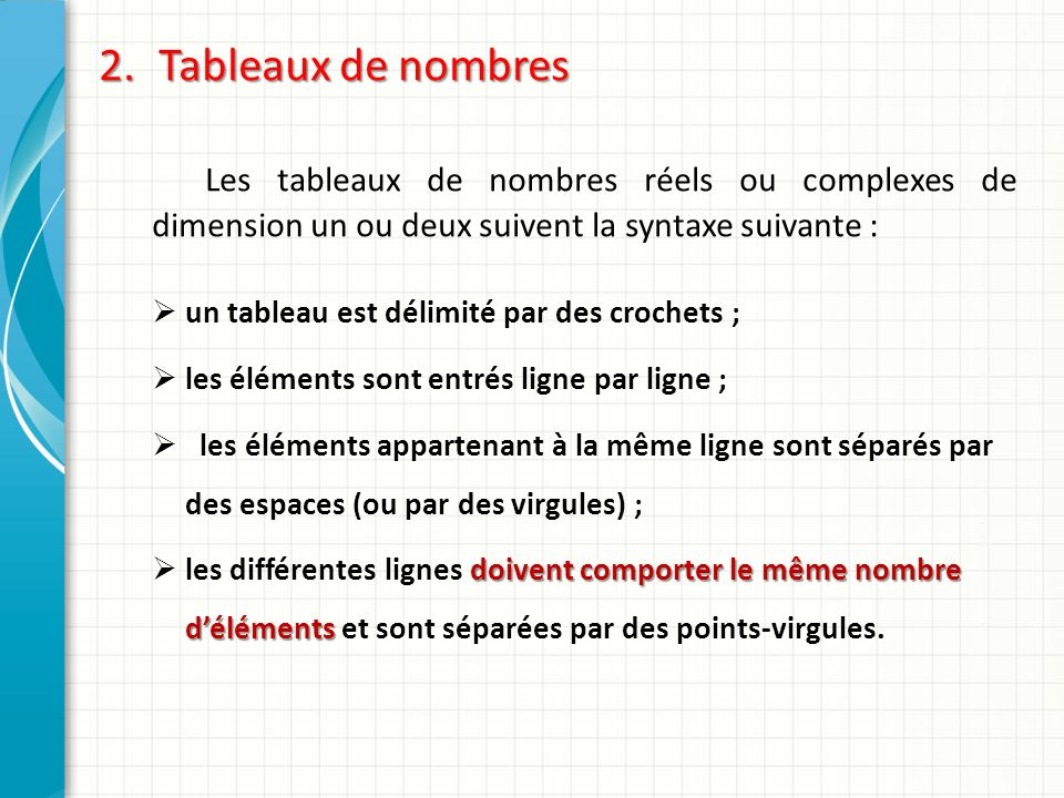 Tableaux de nombres Les tableaux de nombres réels ou complexes de dimension un ou deux suivent la syntaxe suivante :