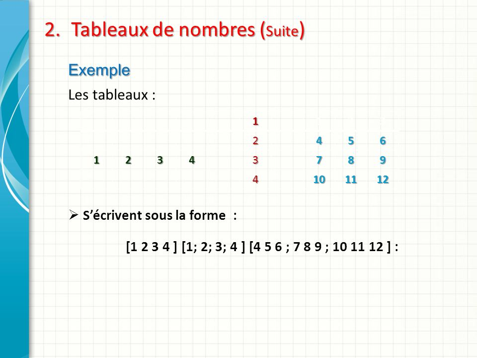 Tableaux de nombres (Suite)