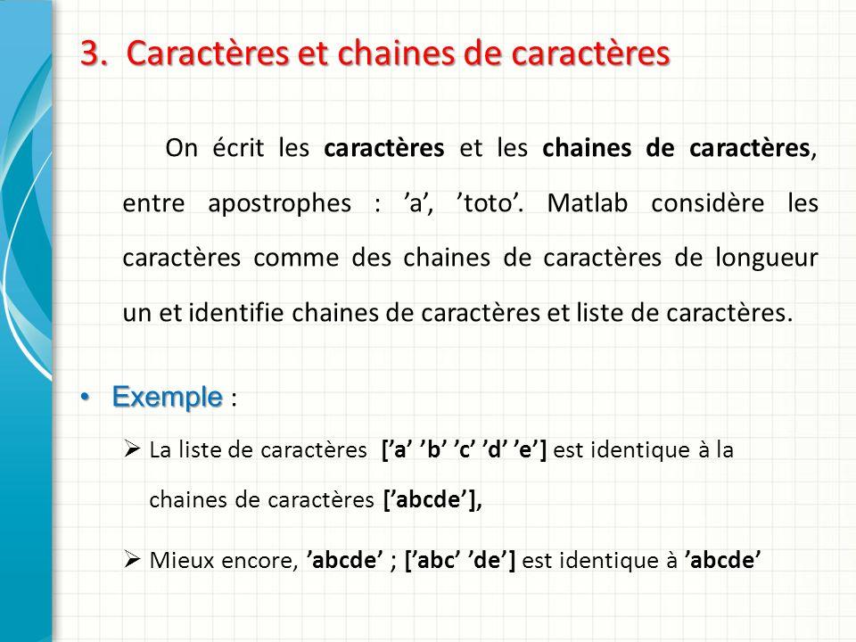3. Caractères et chaines de caractères