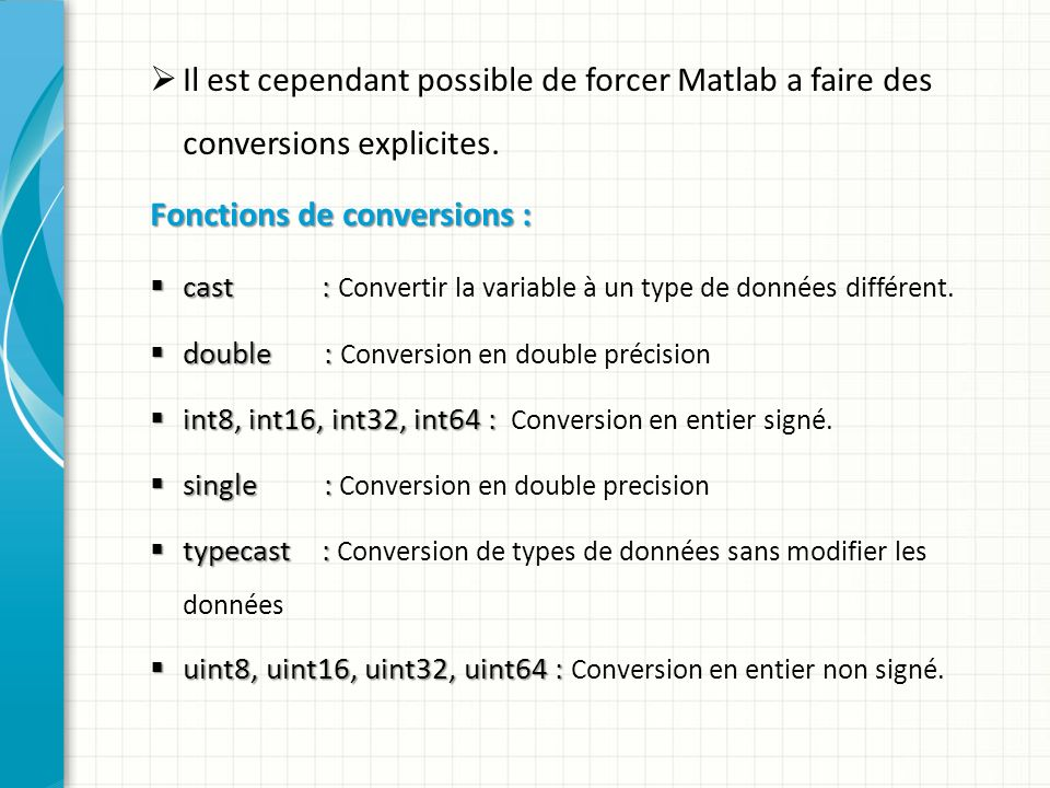 Fonctions de conversions :