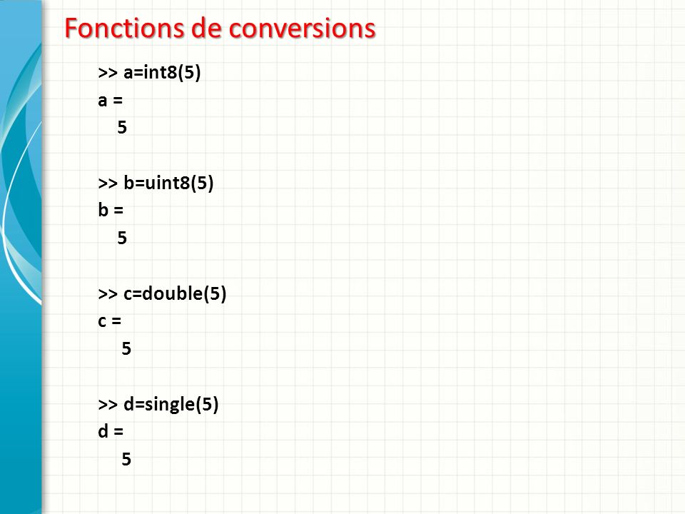 Fonctions de conversions