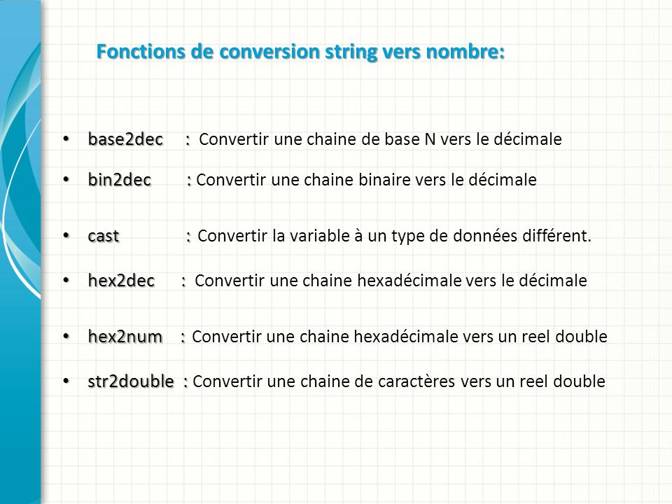 Fonctions de conversion string vers nombre: