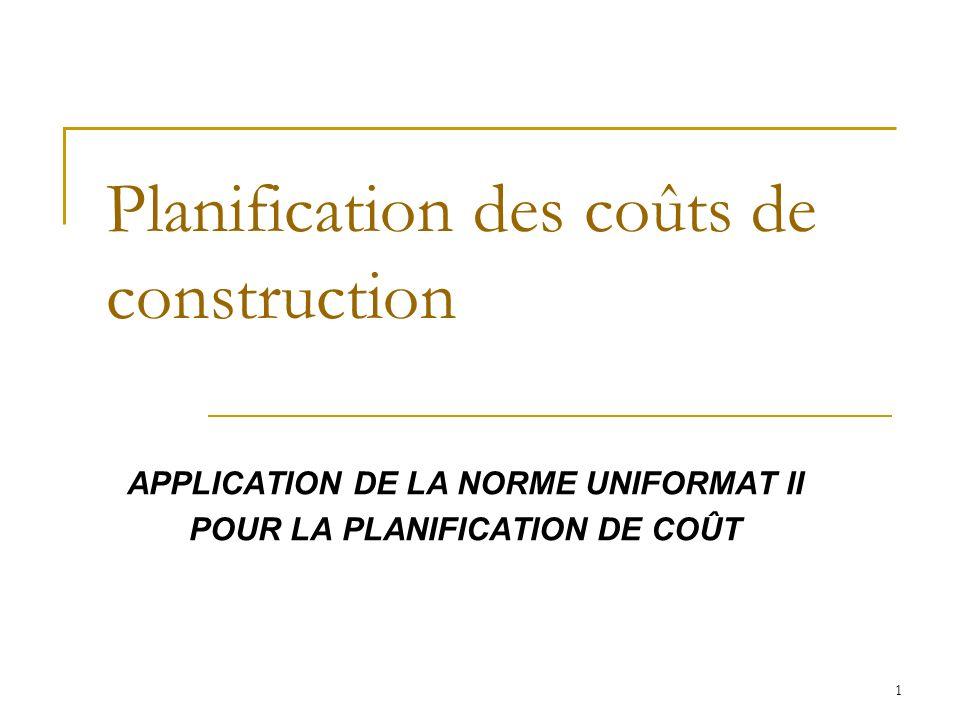 Planification des coûts de construction