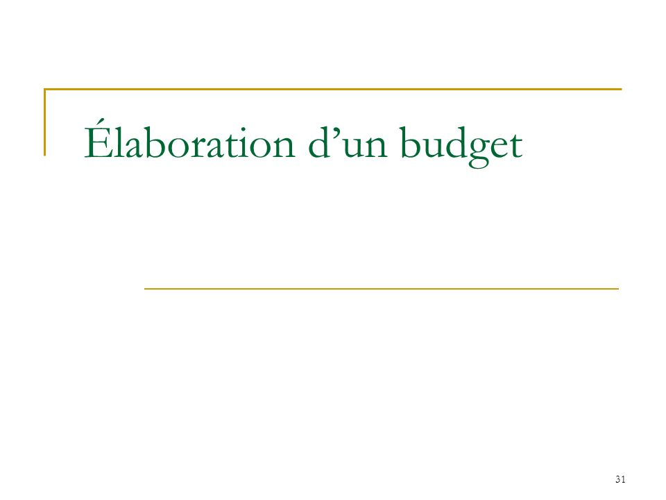 Élaboration d'un budget