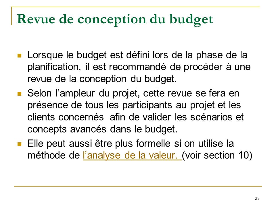 Revue de conception du budget