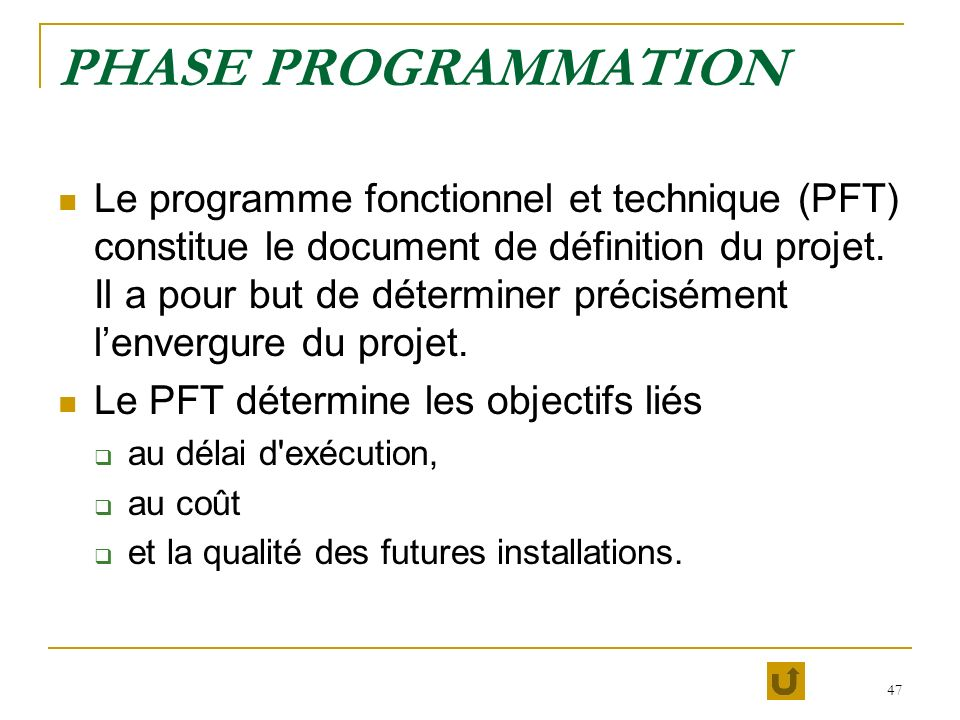 PHASE PROGRAMMATION