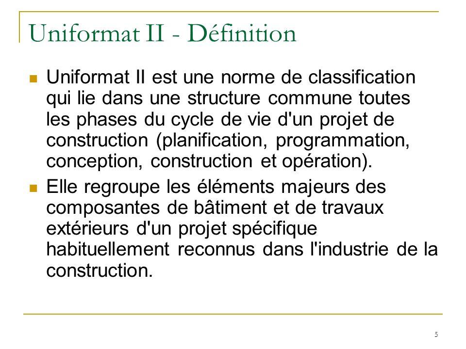 Uniformat II - Définition