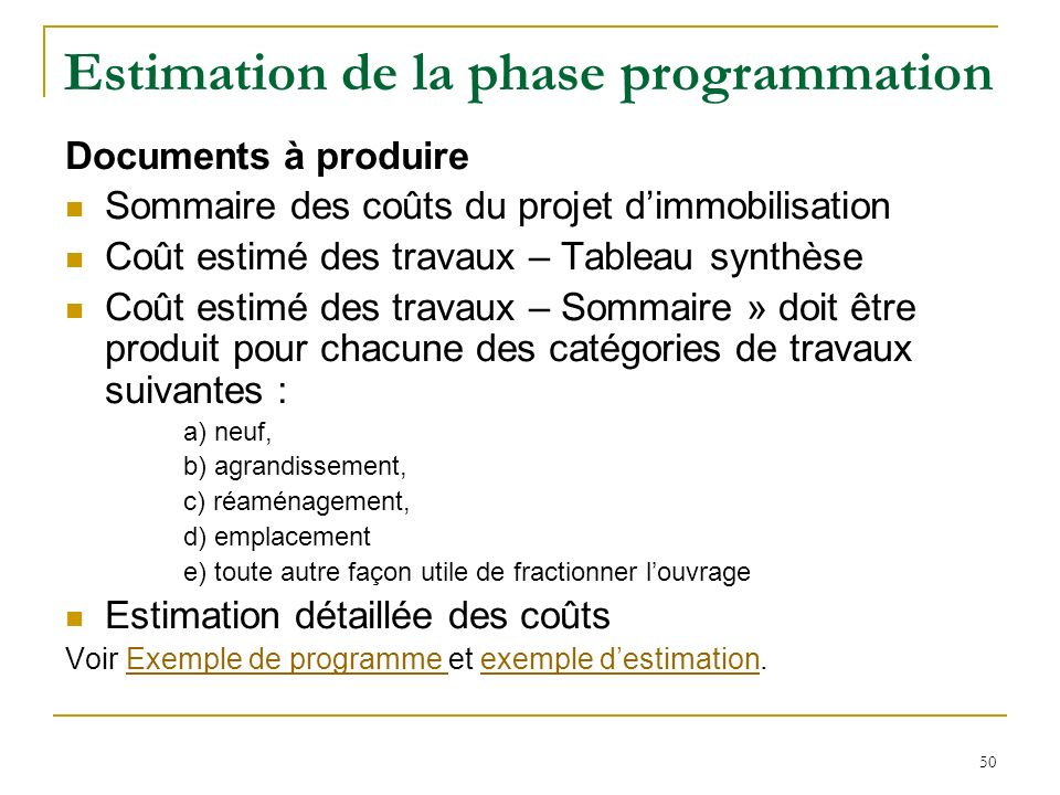 Estimation de la phase programmation