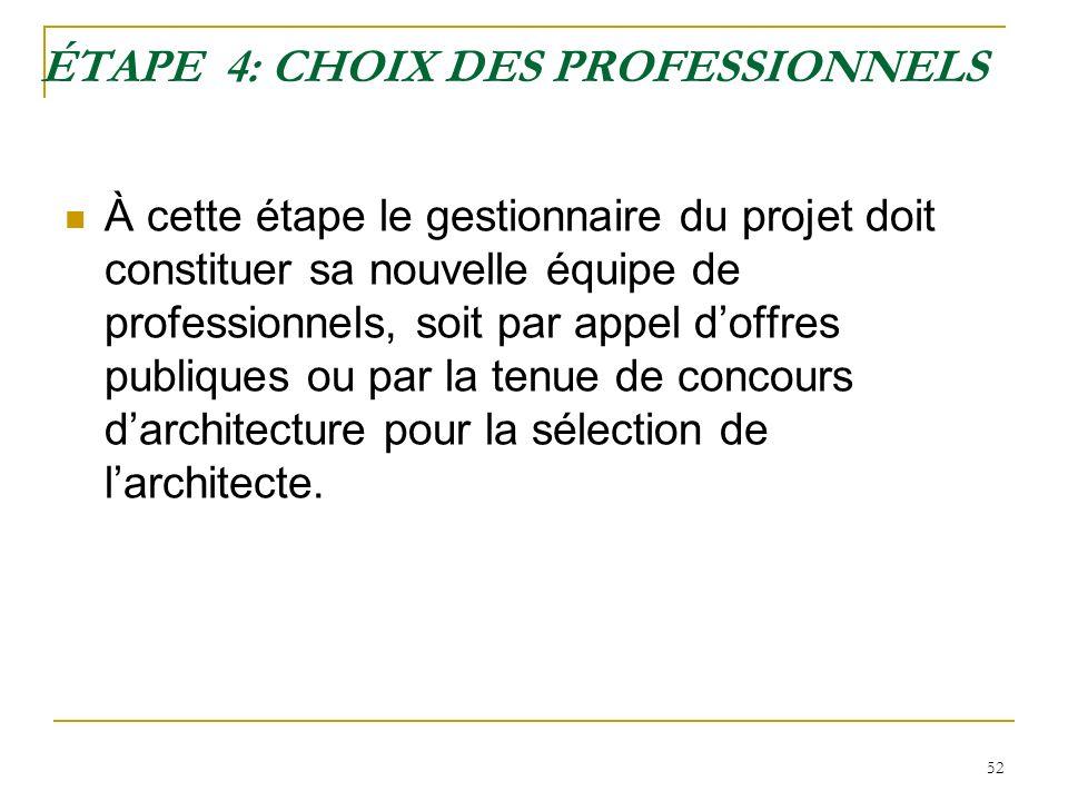 ÉTAPE 4: CHOIX DES PROFESSIONNELS