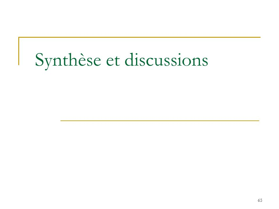 Synthèse et discussions