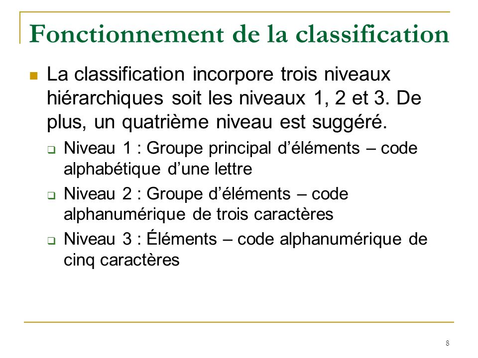 Fonctionnement de la classification