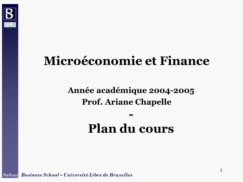 Microéconomie et Finance Prof. Ariane Chapelle - Plan du cours