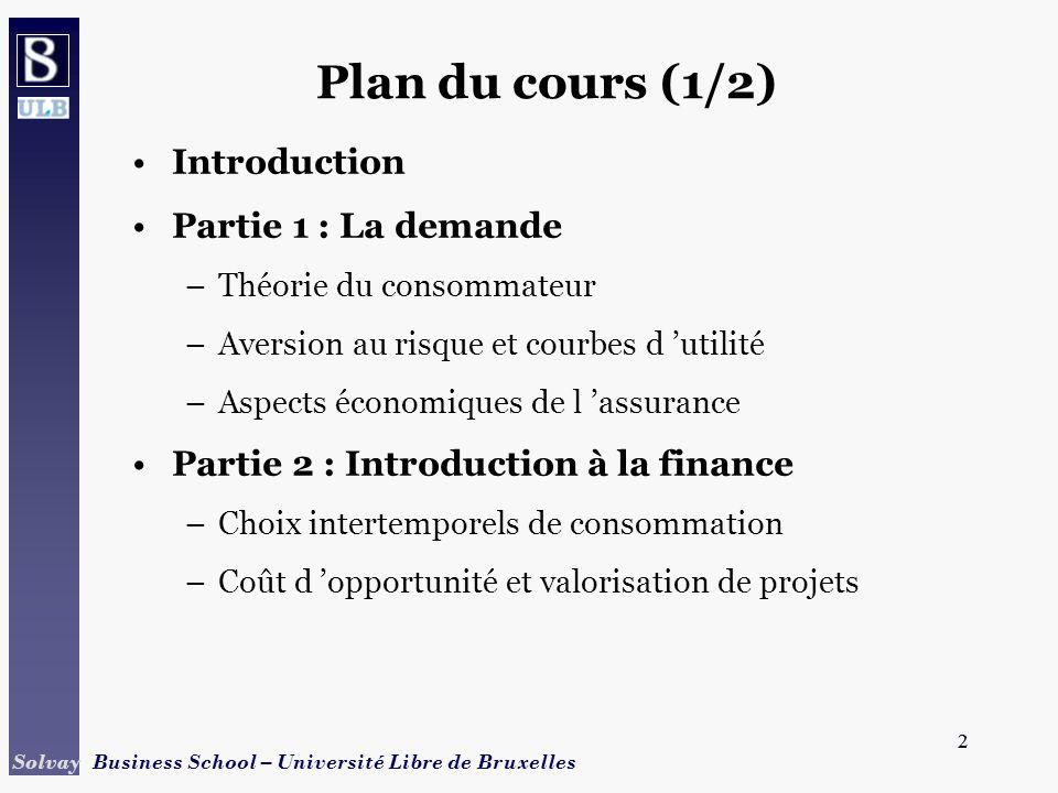 Plan du cours (1/2) Introduction Partie 1 : La demande