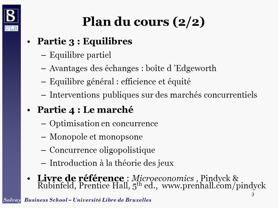 Plan du cours (2/2) Partie 3 : Equilibres Partie 4 : Le marché