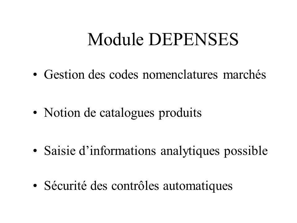 Module DEPENSES Gestion des codes nomenclatures marchés