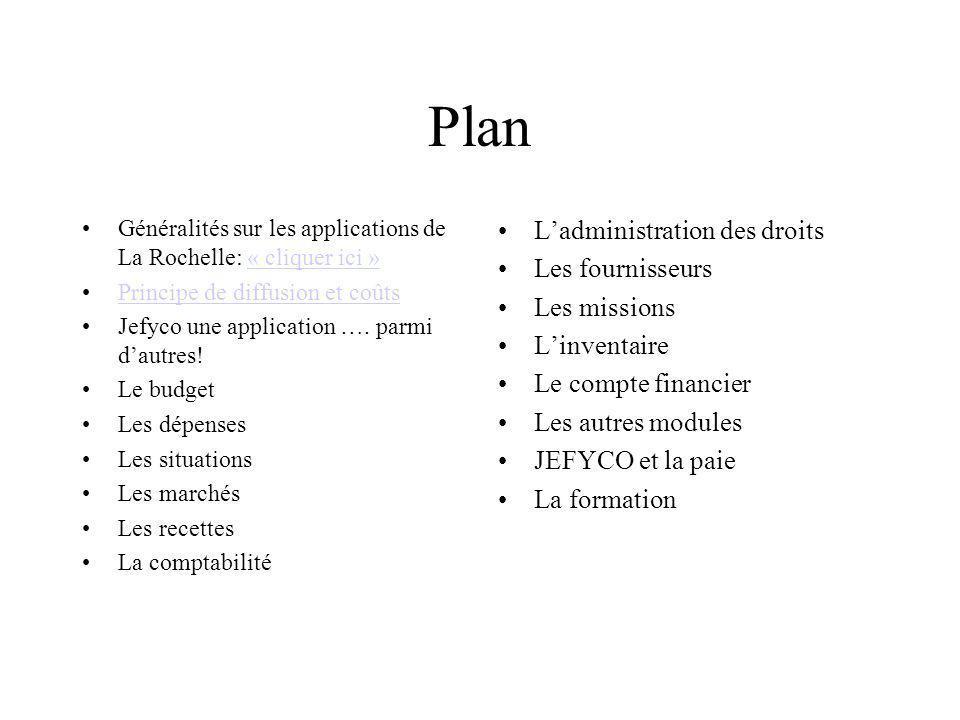 Plan L'administration des droits Les fournisseurs Les missions