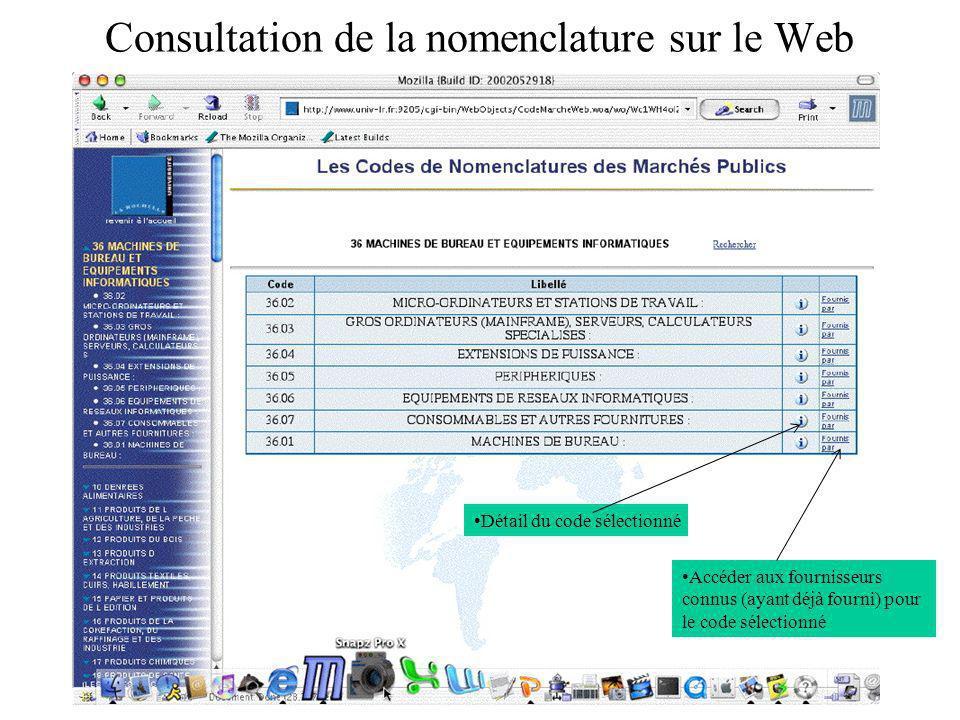 Consultation de la nomenclature sur le Web