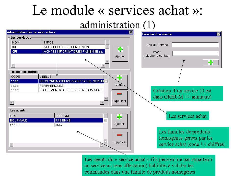 Le module « services achat »: administration (1)