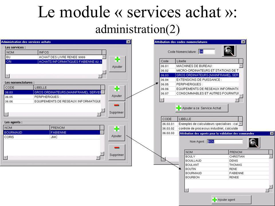 Le module « services achat »: administration(2)