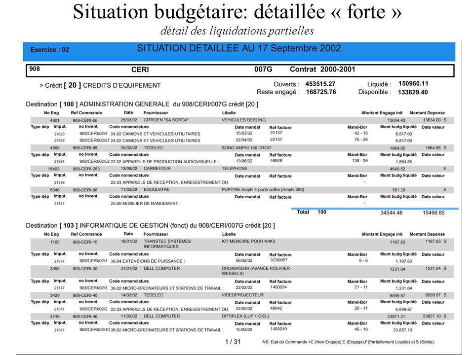 Situation budgétaire: détaillée « forte » détail des liquidations partielles