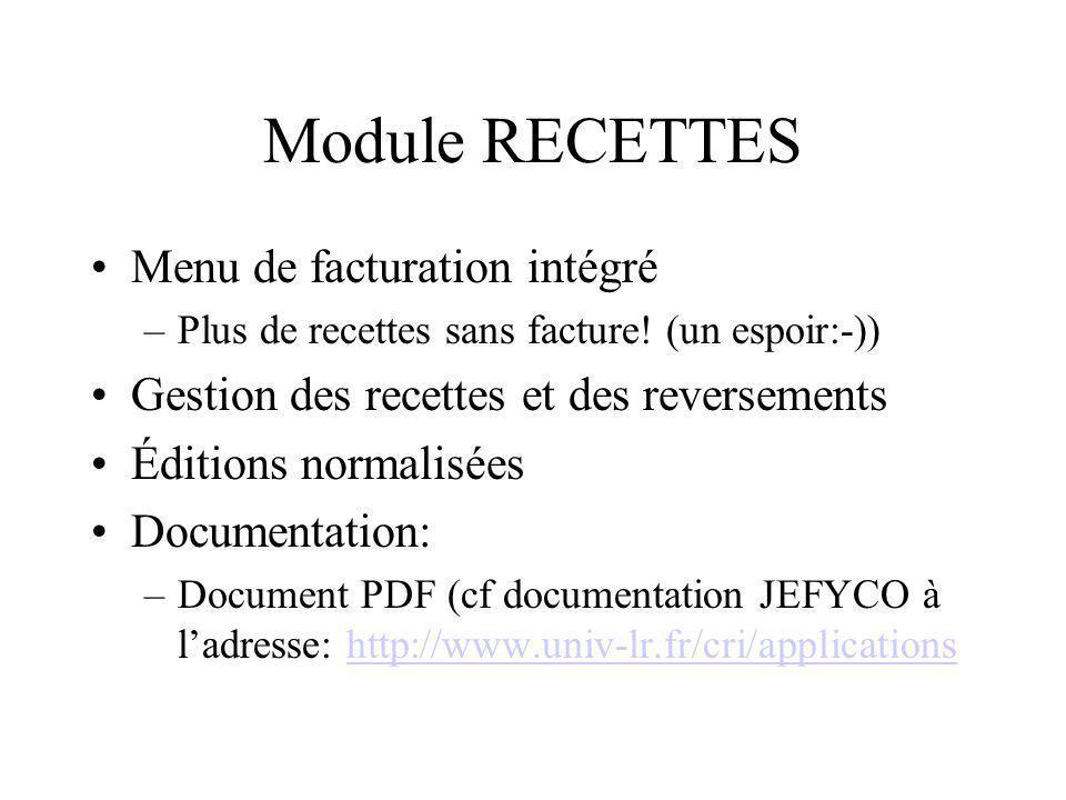 Module RECETTES Menu de facturation intégré