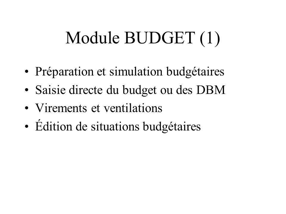 Module BUDGET (1) Préparation et simulation budgétaires