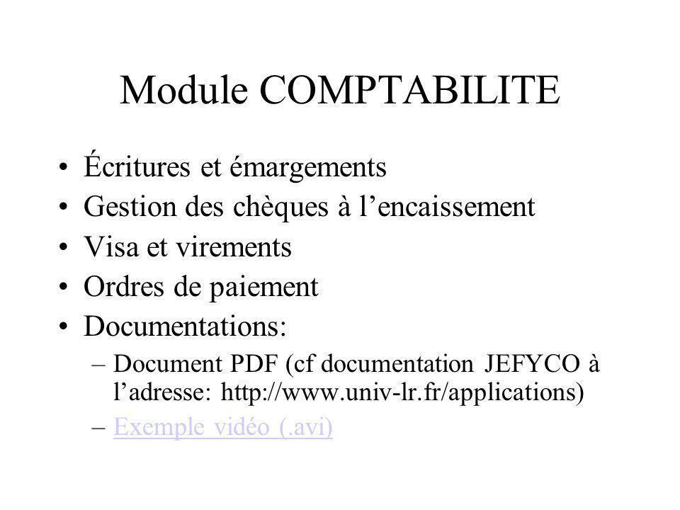 Module COMPTABILITE Écritures et émargements