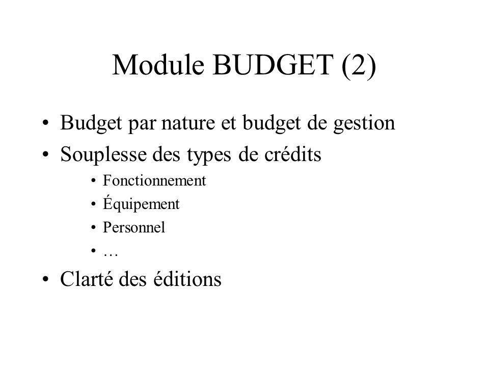 Module BUDGET (2) Budget par nature et budget de gestion